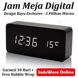 Jam Meja Kayu Led Digital / Digital Wood Smart Alarm Clock