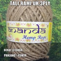 Tali Rami / Tali Goni / Hemp rope / 2ply @100 gram /± 100 meter - Natural 3 Ply