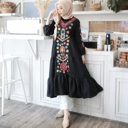 Baju Gamis Wanita Terbaru Ramadhani Dress Maxi Bordir Murah Kekinian
