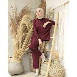 Baju Muslim Syari Murah Setelan Wanita Milea Set Katun Rayon Piyama