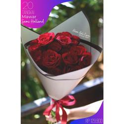 Kado Buket Bunga Mawar Premium 20 Tangkai Semi Holland, Free Paper Bag - Merah
