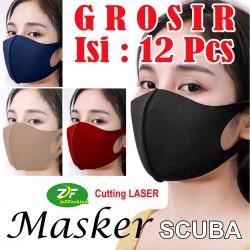 GROSIR Masker SCUBA Korea Dewasa Kain Warna POLOS Cutting LASER + Neci - Hitam