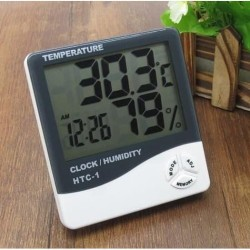 HTC-1 Digital Hygrometer Temperature Termometer Clock Alarm Jam