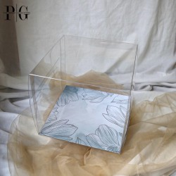 Kotak Kue 22x22x20cm / Glass Cake Box 22cm / Dus Kue TANPA ALAS