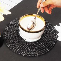 Bits Hitam | placemat alas meja makan tatakan piring bisa cuci 25 cm