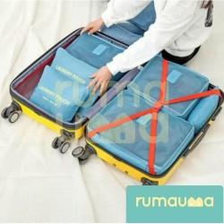 RUMAUMA Travel Pouch 6IN1 Set Storage Organizer Koper Tas Penyimpanan - Biru