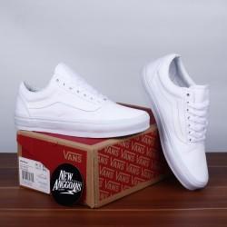 Sepatu Vans Oldskool Full All White Putih Polos - Original PREMIUM