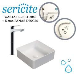 Wastafel Sericite 2060 + Keran Air / Kran Panas Dingin Gold