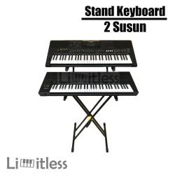 Stand Keyboard Double 2 Susun / Dua Rak Bahan Besi Kuat dan Kokoh