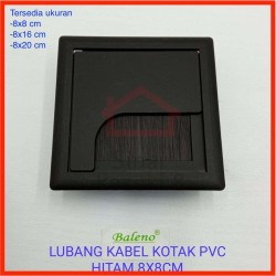 Tutup Lubang Kabel Kotak 8 x 8 BLACK Meja Kantor Cable Hole Grommet - Hitam