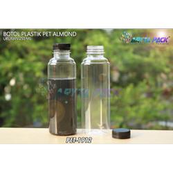 PET1912. Botol plastik 250ml minuman pet almond tutup segel hitam