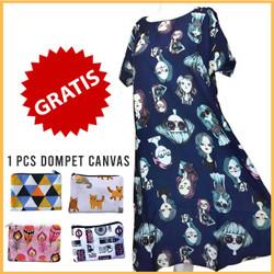 Dress Vintage Model Payung Khas Bali - Dress Wanita - Dress Navy fit L