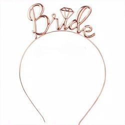 Bando / Headband Metal Tulisan Bride Aksesoris Bridal Shower / Bride T - Metal RoseGold