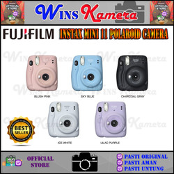 Fujifilm Instax Mini 11 Polaroid Camera + Paper 20 Sheets - Non Paket, Sky Blue