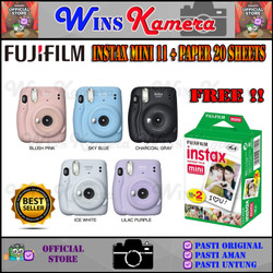 Fujifilm Instax Mini 11 Polaroid Camera + Paper 20 Sheets - Paket 20 Paper, Lilac Purple