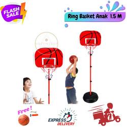 Ring Basket 1.5m Bahan Besi Mainan Olaharaga Basket FREE Bola Basket - Ring Basket, Free Bola (1)