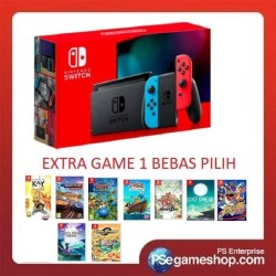 Nintendo Switch Console (Generation 2) (Neon Blue / Neon Red) + 1 Game