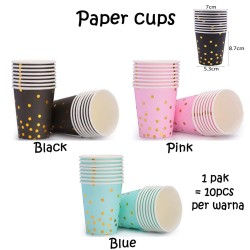 Paper Cups Gold Confetti Polkadot / Gelas Kertas emas pesta ultah hbd
