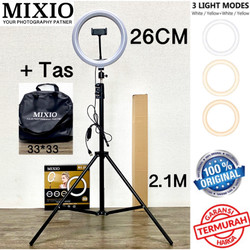 Ring Light 26cm + Light Stand Tripod 2M Selfie Vlogger Livestreamer - PAKET PLUS TAS