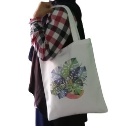 tas tote bag canvas monstera