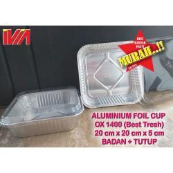 SET ALUMUNIUM FOIL CUP TRAY KOTAK 20 X 20 + TUTUP