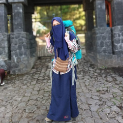 Rok Celana Muslimah Drill Biru Dongker Ukuran S M L Jagoan Cloth