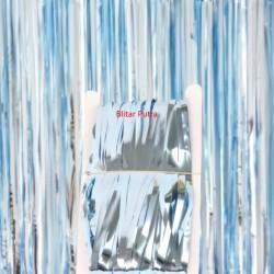 biru muda / soft blue - TIRAI FOIL / FOIL CURTAIN / back drop / rumbai