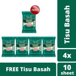 Wipol Wipes Tisu Basah Disinfektan 10 Sheets isi 4 free 1 pcs
