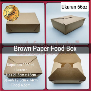 Brown paper food box 66oz/kotak makan kertas kraft 1.980ml