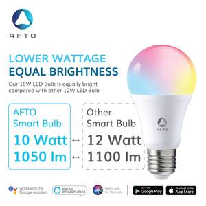 AFTO 10W Smart Bulb RGB+WW-CW/CCT Lampu Led -WiFi IoT Home Automation