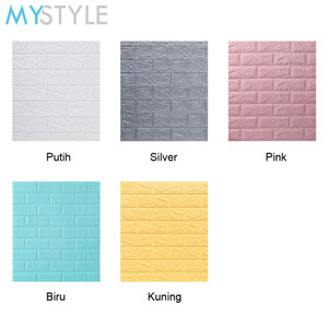 WALLPAPER FOAM 3D BATU BATA WARNA WARNI WALL STICKER MODERN BRICK WALL