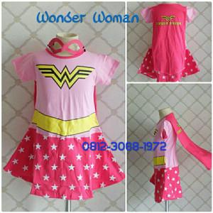 Baju Dress Kostum Karakter Superhero Girl WONDER WOMAN Pink 3-6 Tahun