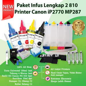 Paket Infus Printer Canon iP2770 MP287 MP237 MP258 Cartridge 810 811