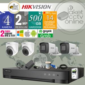 Paket CCTV Hikvision 4 Channel 4CH 4 Titik Murah Bergaransi 4 Kamera