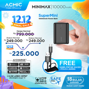 ACMIC MINIMAX SuperMini 10000mAh AiCharge Power Bank (QC4 + PD + VOOC)