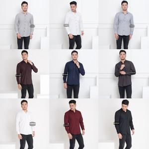 Baju Kemeja Lengan Panjang Pria Polos Big Size XXL Jumbo Aneka Warna