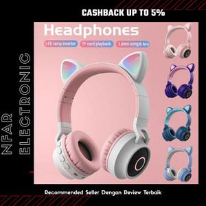 Headset Bluetooth Bando Motif Kucing Headphone Lucu Untuk Anak-Anak