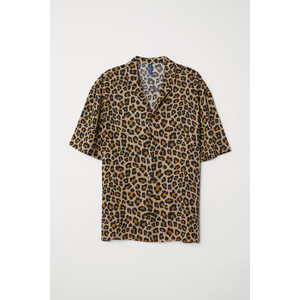 Kemeja H&M Patterned Resort Shirt Leopard Print Original HnM Pantai