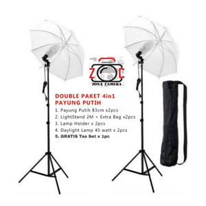 Paket Studio Video Foto Double 5in1 Payung Photo Vlog Putih Set Shoot