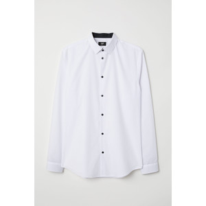 Kemeja H&M Cotton Blend Slim Fit Shirt White Original HnM Kerja Putih