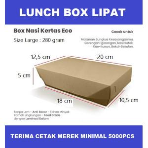 PAPER LUNCH BOX LIPAT - LARGE BROWN - BAHAN KRAFT KEMASAN MAKANAN