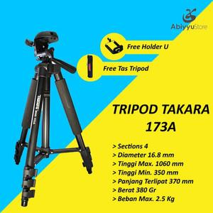 Tripod Takara Eco 173A / Tripod Kamera DSLR Free Tas dan Holder U