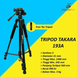 Tripod Takara Eco 193A / Tripod Kamera DSLR Free Tas