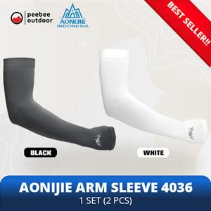 Aonijie 4036 Arm Sleeve Manset kaos tangan Lari sepeda ORIGINAL - Putih