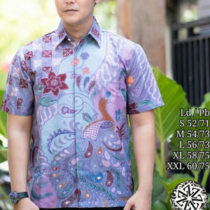 kemeja batik tulis lengan pendek motif diamond