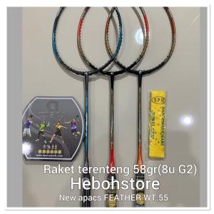 Raket Badminton NEW Apacs FEATHER WT.55 nanotec kuat 35 LBS berat 58gr