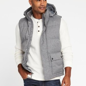 Rompi Old Navy Detachable Hood Frost Free Puffer Vest Grey Original