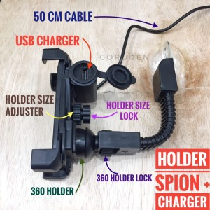 Holder HP Motor Spion 7,5 inci + USB Charger Slot GPS Gojek Grab