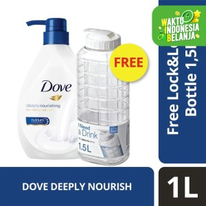 Dove Body Wash Deeply Nourishing Pump 1L free Lock n Lock 1.5L