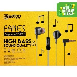 SATOO FANES Headset Earphone Handsfree High Bass With Microphone - Putih